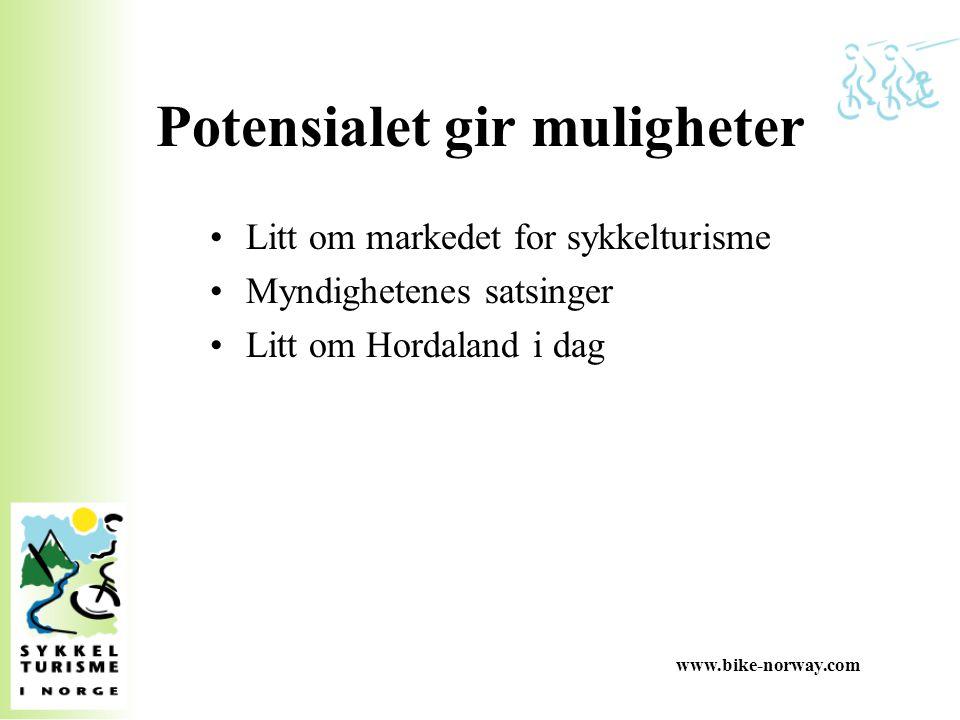 www.bike-norway.com Potensialet gir muligheter Litt om markedet for sykkelturisme Myndighetenes satsinger Litt om Hordaland i dag