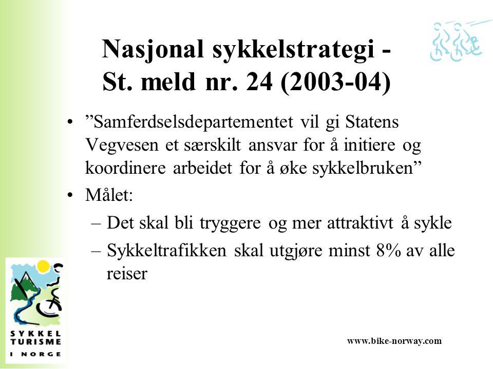"""www.bike-norway.com Nasjonal sykkelstrategi - St. meld nr. 24 (2003-04) """"Samferdselsdepartementet vil gi Statens Vegvesen et særskilt ansvar for å ini"""