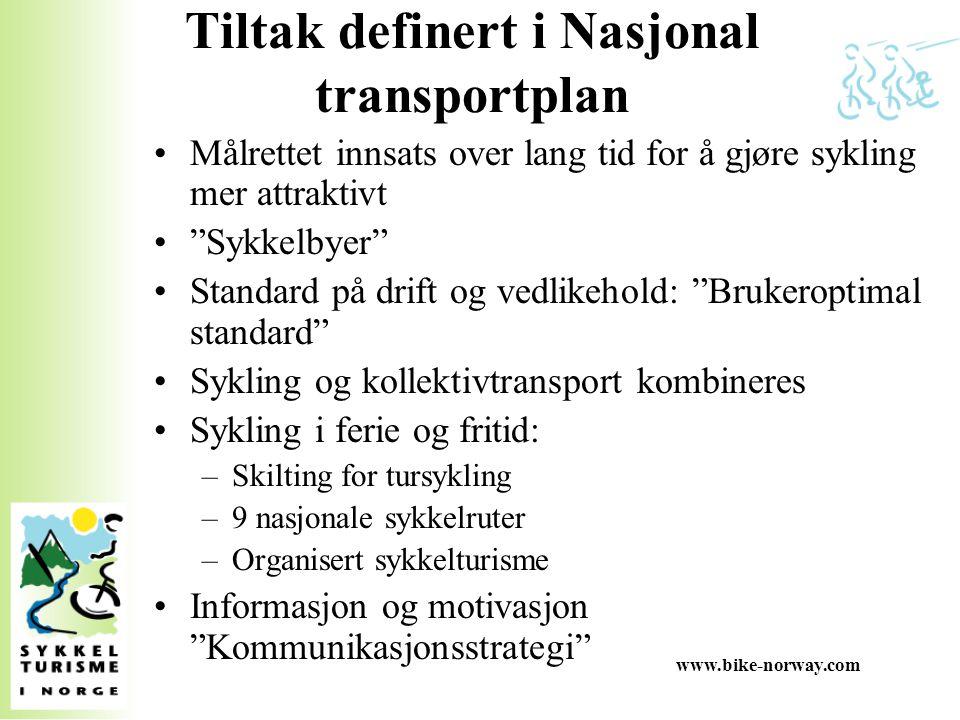 """www.bike-norway.com Tiltak definert i Nasjonal transportplan Målrettet innsats over lang tid for å gjøre sykling mer attraktivt """"Sykkelbyer"""" Standard"""