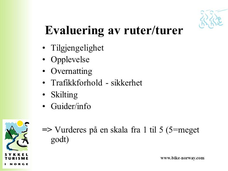 www.bike-norway.com Evaluering av ruter/turer Tilgjengelighet Opplevelse Overnatting Trafikkforhold - sikkerhet Skilting Guider/info => Vurderes på en