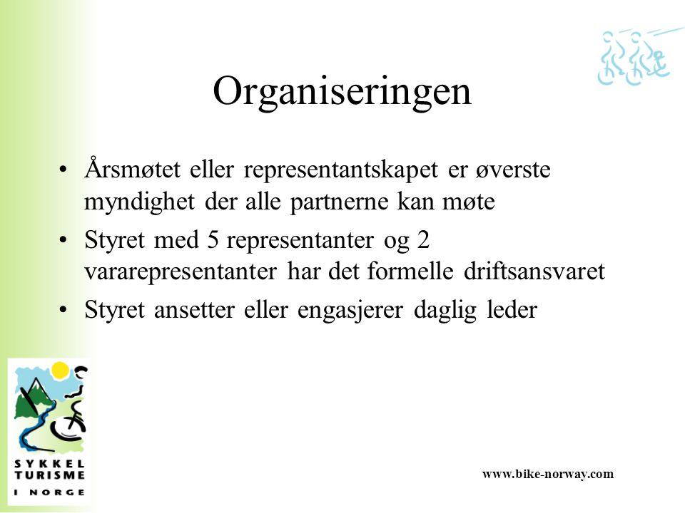 www.bike-norway.com Organiseringen Årsmøtet eller representantskapet er øverste myndighet der alle partnerne kan møte Styret med 5 representanter og 2
