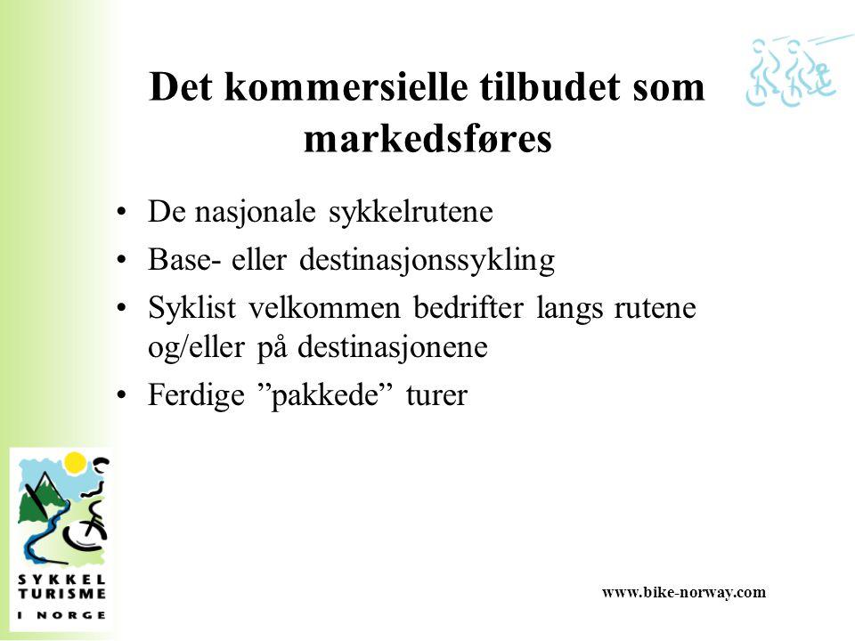 www.bike-norway.com Hovedarbeidsoppgavene er definert i forretningsid é en Utvikling for å få på plass de nasjonale rutene, flere syklist velkommen destinasjoner og bedrifter Kvalitetssikring for å sikre at tilbudene tilfredstiller kvalitetskravene - som forsøkes etablert som nasjonale standarder Markedsføring der nettestedet bike-norway og cyklingnorway er helt sentralt, samt deltakelse i Norges- og bygdeturismekampanjen til Innovasjon Norge, temasatsingen internasjonalt