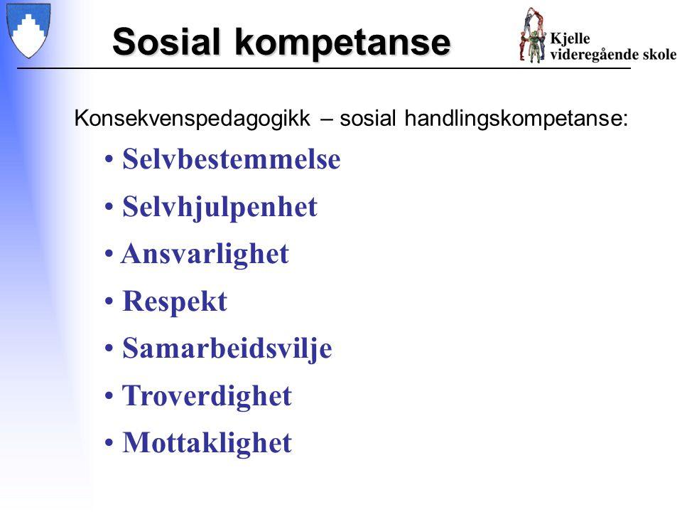 Sosial kompetanse Konsekvenspedagogikk – sosial handlingskompetanse: Selvbestemmelse Selvhjulpenhet Ansvarlighet Respekt Samarbeidsvilje Troverdighet