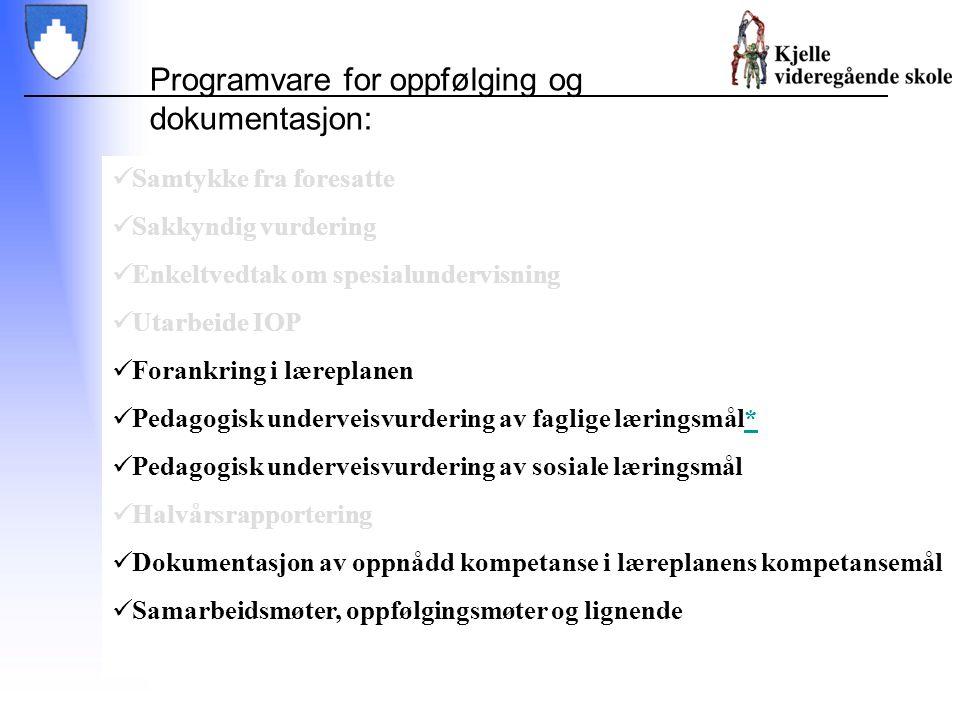 Samtykke fra foresatte Sakkyndig vurdering Enkeltvedtak om spesialundervisning Utarbeide IOP Forankring i læreplanen Pedagogisk underveisvurdering av