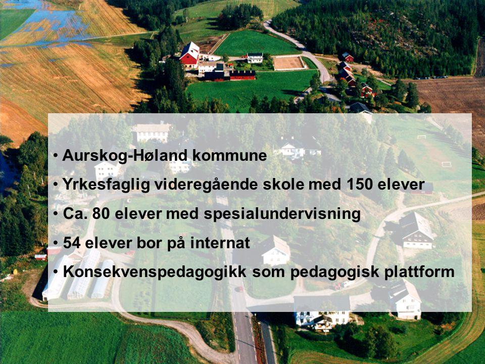 Aurskog-Høland kommune Yrkesfaglig videregående skole med 150 elever Ca. 80 elever med spesialundervisning 54 elever bor på internat Konsekvenspedagog