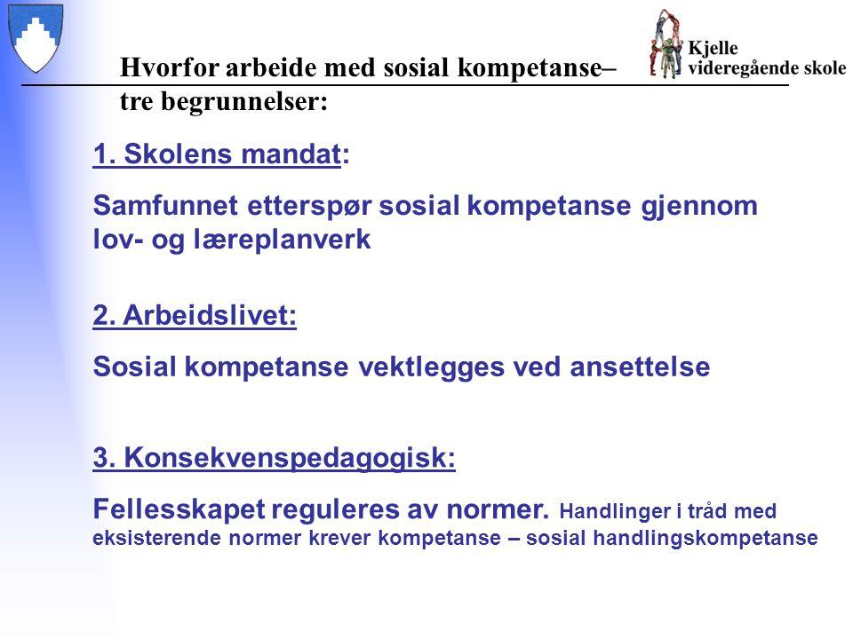 3. Konsekvenspedagogisk: Fellesskapet reguleres av normer. Handlinger i tråd med eksisterende normer krever kompetanse – sosial handlingskompetanse 2.