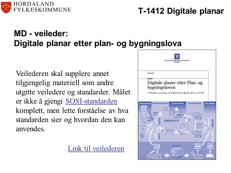 T-1412 Digitale planar MD - veileder: Digitale planar etter plan- og bygningslova Veilederen skal supplere annet tilgjengelig materiell som andre utgitte veiledere og standarder.