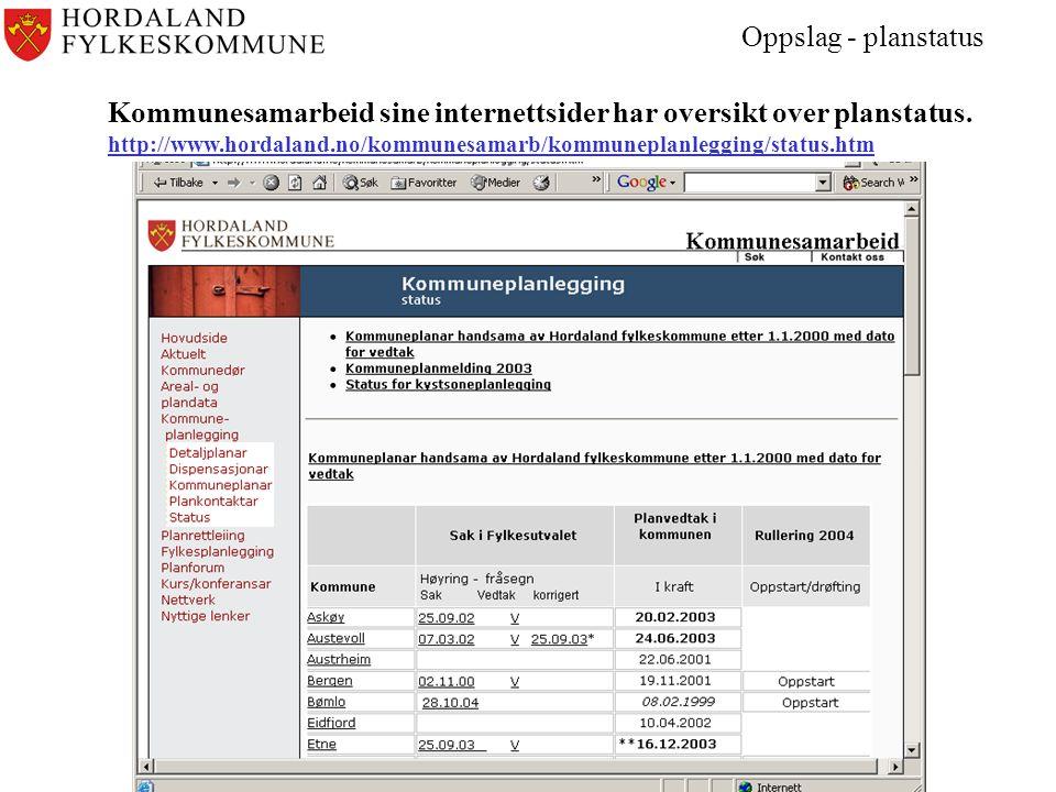 Oppslag - planstatus Kommunesamarbeid sine internettsider har oversikt over planstatus.