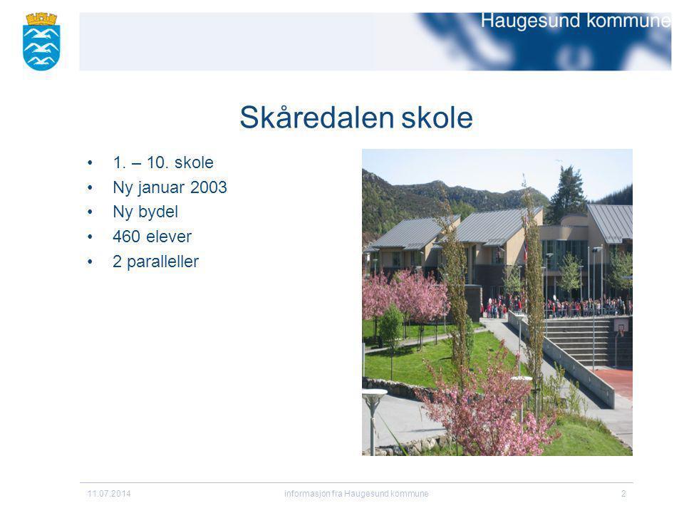 11.07.2014informasjon fra Haugesund kommune2 Skåredalen skole 1. – 10. skole Ny januar 2003 Ny bydel 460 elever 2 paralleller