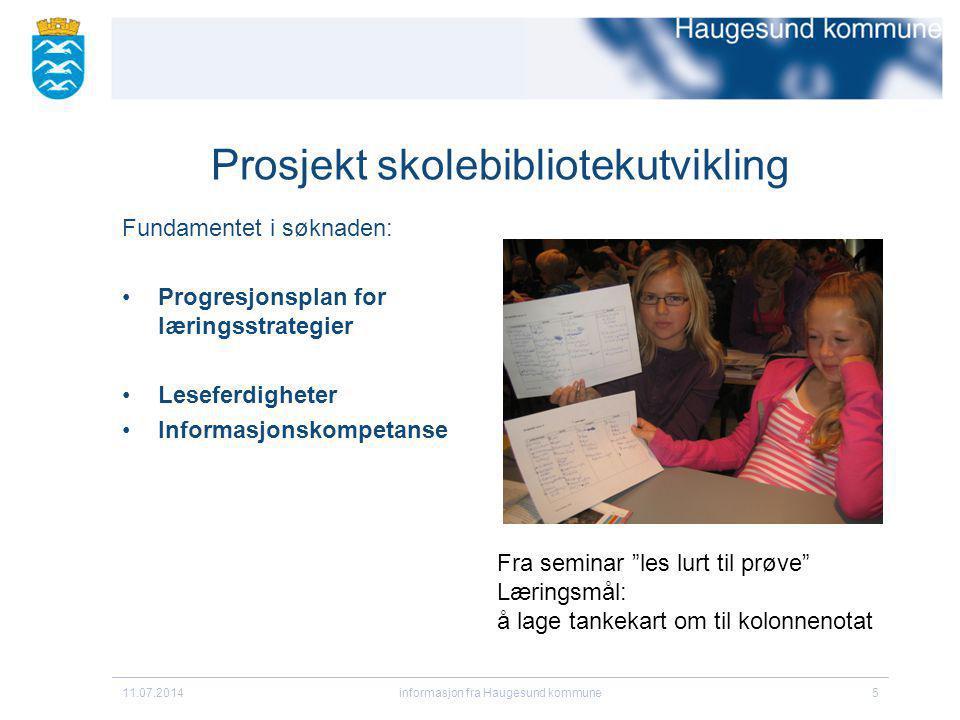 11.07.2014informasjon fra Haugesund kommune16 Komplekse oppgaver som krever arbeid.