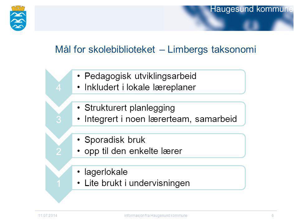 Mål for skolebiblioteket – Limbergs taksonomi 11.07.2014informasjon fra Haugesund kommune6 4 Pedagogisk utviklingsarbeid Inkludert i lokale læreplaner