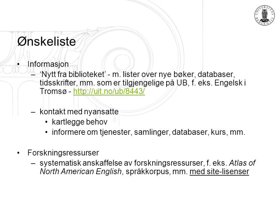 Ønskeliste Informasjon –'Nytt fra biblioteket' - m.