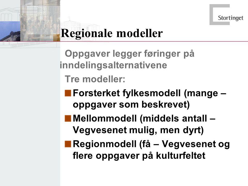 Regionale modeller Oppgaver legger føringer på inndelingsalternativene Tre modeller: Forsterket fylkesmodell (mange – oppgaver som beskrevet) Mellommodell (middels antall – Vegvesenet mulig, men dyrt) Regionmodell (få – Vegvesenet og flere oppgaver på kulturfeltet