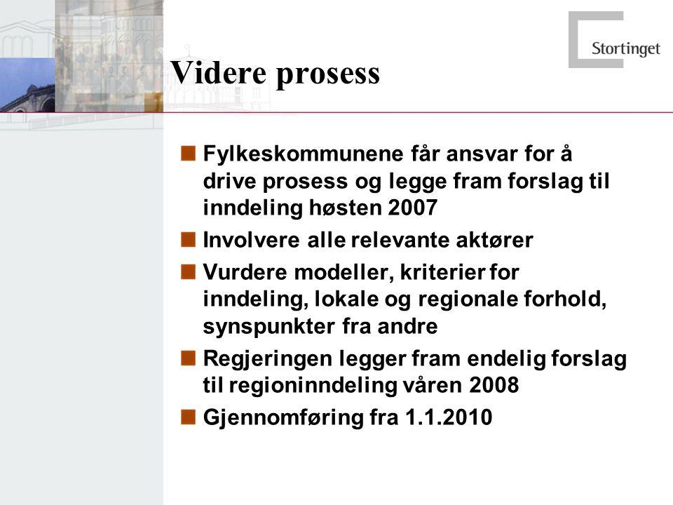 Videre prosess Fylkeskommunene får ansvar for å drive prosess og legge fram forslag til inndeling høsten 2007 Involvere alle relevante aktører Vurdere modeller, kriterier for inndeling, lokale og regionale forhold, synspunkter fra andre Regjeringen legger fram endelig forslag til regioninndeling våren 2008 Gjennomføring fra 1.1.2010