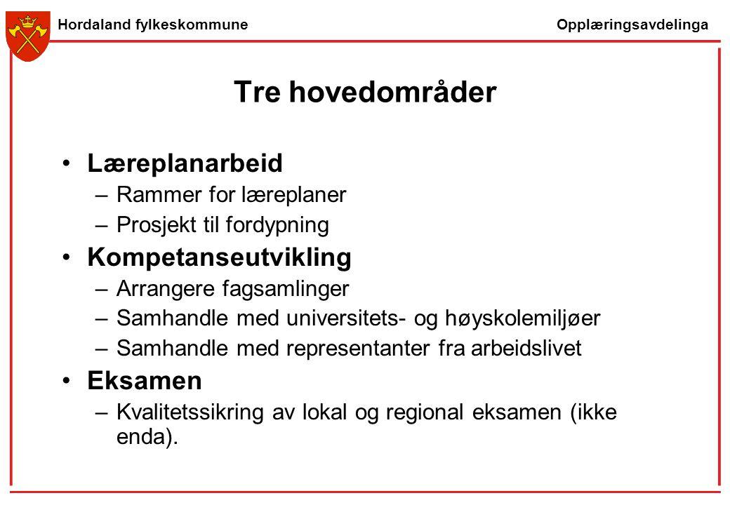 Opplæringsavdelinga Hordaland fylkeskommune Tre hovedområder Læreplanarbeid –Rammer for læreplaner –Prosjekt til fordypning Kompetanseutvikling –Arran