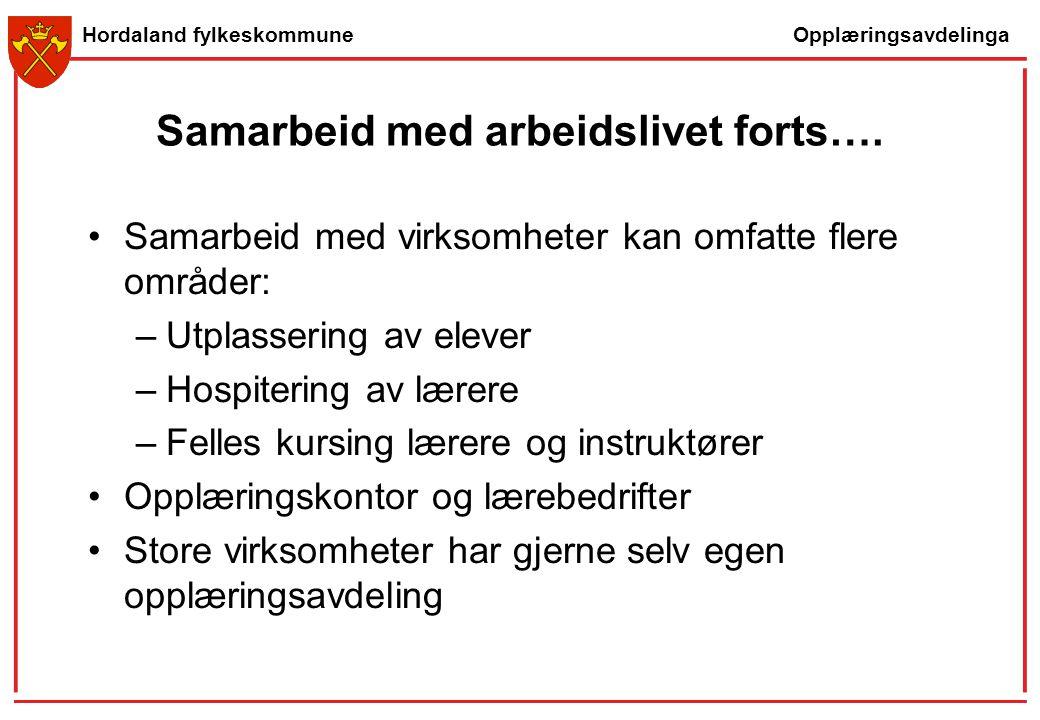 Opplæringsavdelinga Hordaland fylkeskommune Samarbeid med arbeidslivet forts…. Samarbeid med virksomheter kan omfatte flere områder: –Utplassering av