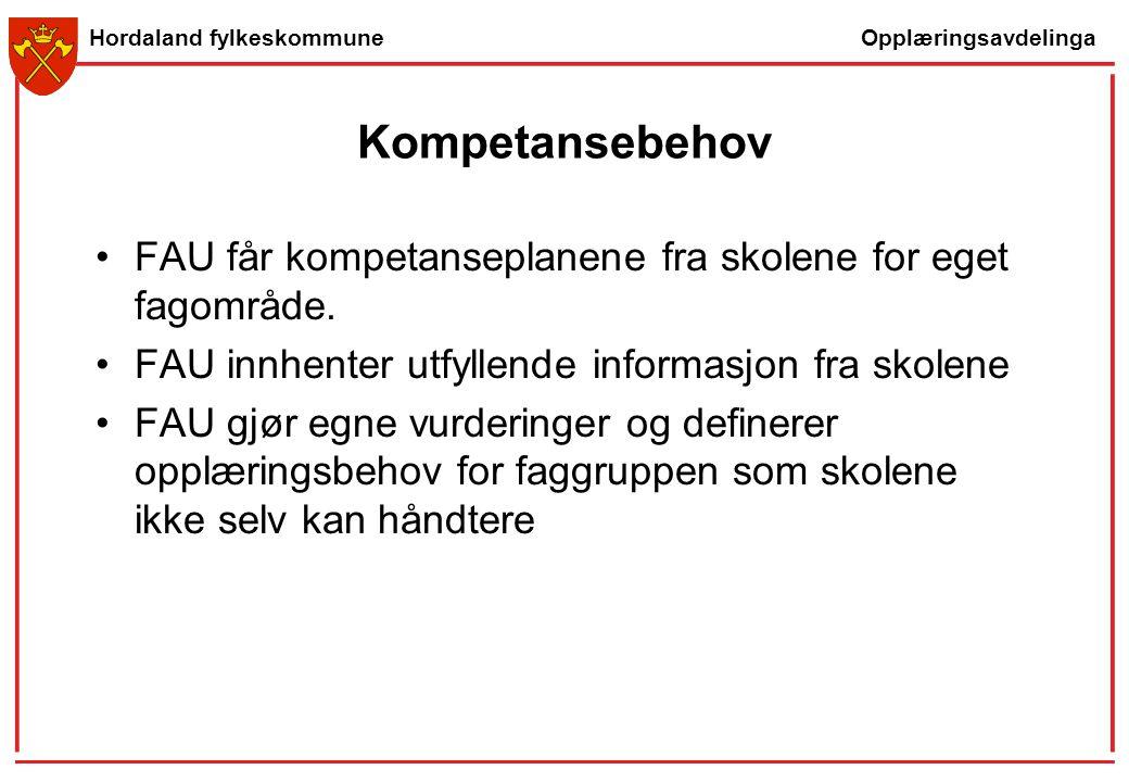 Opplæringsavdelinga Hordaland fylkeskommune Kompetansebehov FAU får kompetanseplanene fra skolene for eget fagområde. FAU innhenter utfyllende informa