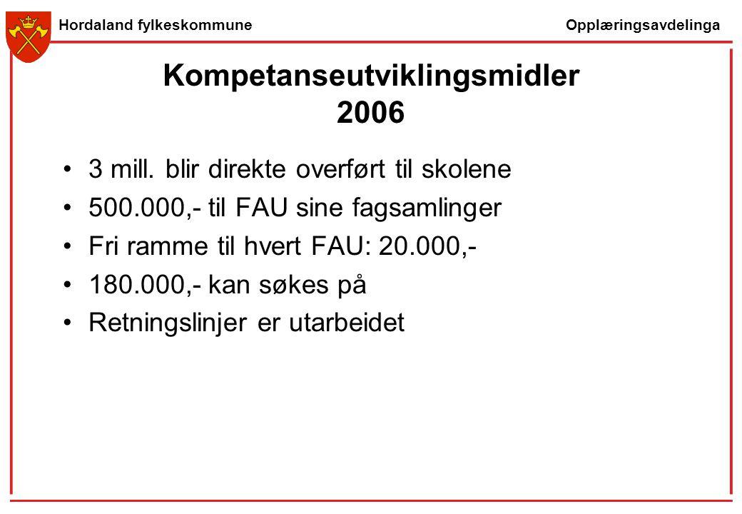 Opplæringsavdelinga Hordaland fylkeskommune Kompetanseutviklingsmidler 2006 3 mill. blir direkte overført til skolene 500.000,- til FAU sine fagsamlin