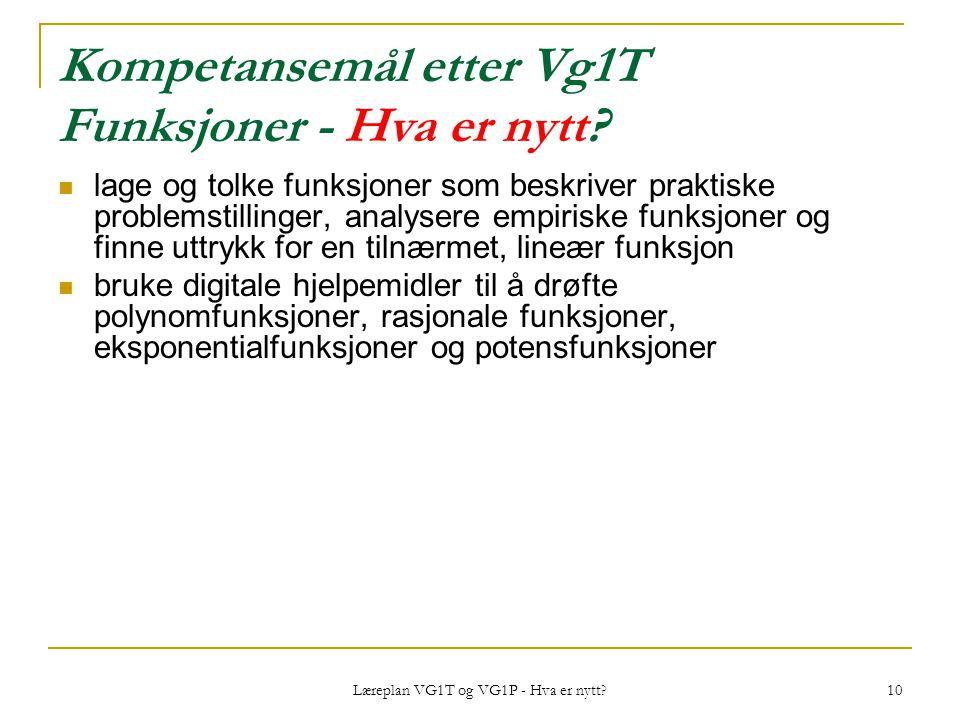 Læreplan VG1T og VG1P - Hva er nytt? 10 Kompetansemål etter Vg1T Funksjoner - Hva er nytt? lage og tolke funksjoner som beskriver praktiske problemsti