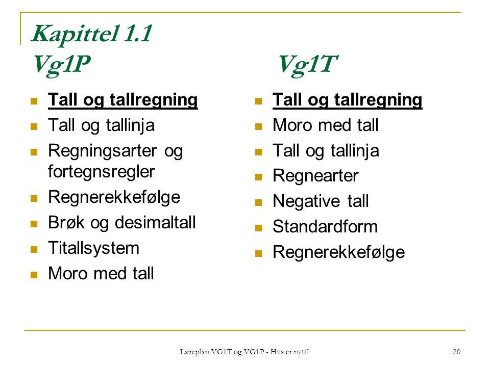 Læreplan VG1T og VG1P - Hva er nytt? 20 Kapittel 1.1 Vg1PVg1T Tall og tallregning Tall og tallinja Regningsarter og fortegnsregler Regnerekkefølge Brø