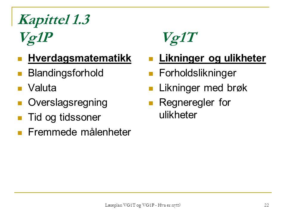 Læreplan VG1T og VG1P - Hva er nytt? 22 Kapittel 1.3 Vg1PVg1T Hverdagsmatematikk Blandingsforhold Valuta Overslagsregning Tid og tidssoner Fremmede må