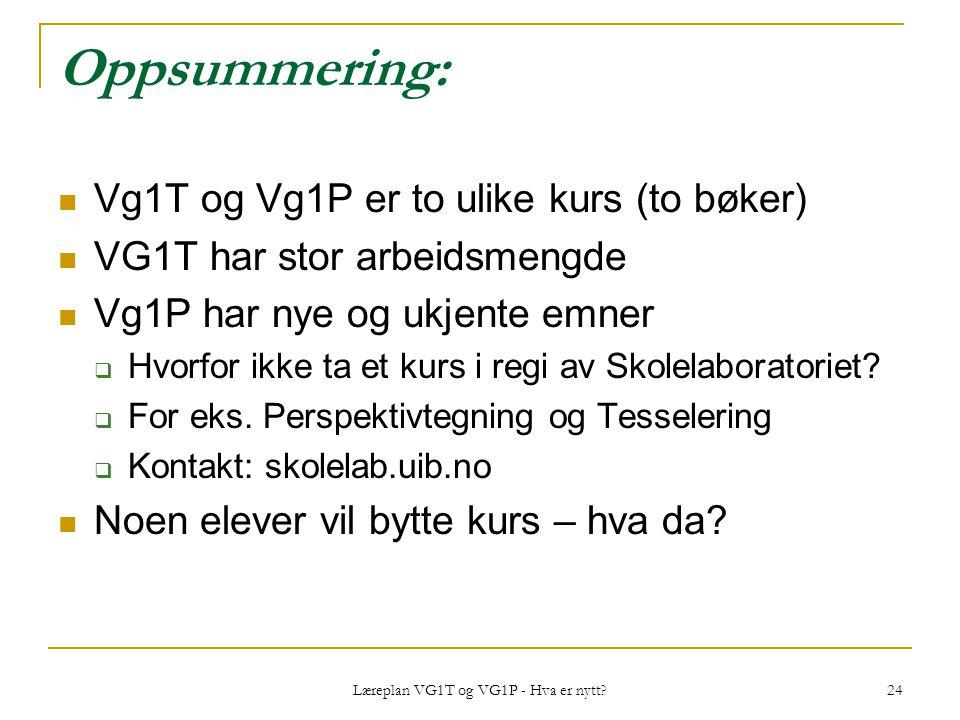 Læreplan VG1T og VG1P - Hva er nytt? 24 Oppsummering: Vg1T og Vg1P er to ulike kurs (to bøker) VG1T har stor arbeidsmengde Vg1P har nye og ukjente emn