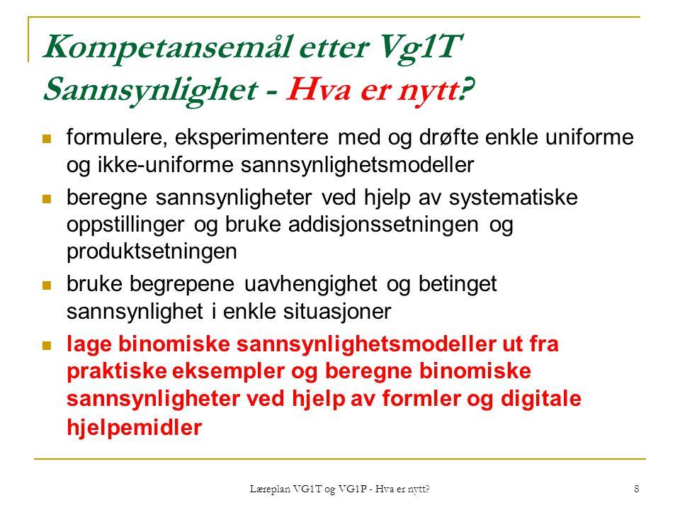 Læreplan VG1T og VG1P - Hva er nytt? 8 Kompetansemål etter Vg1T Sannsynlighet - Hva er nytt? formulere, eksperimentere med og drøfte enkle uniforme og