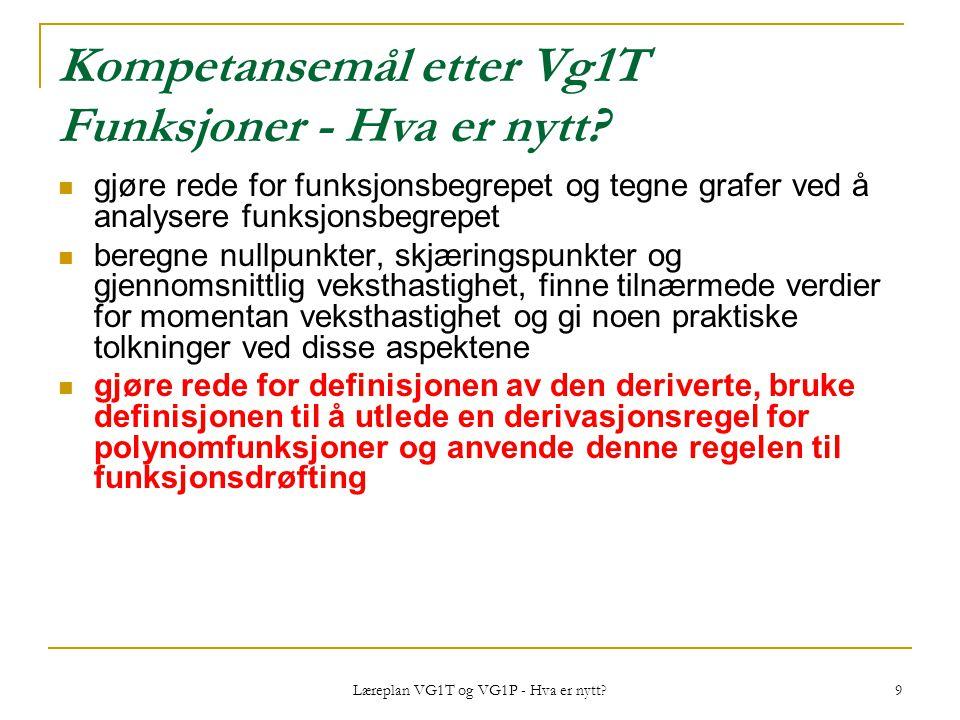 Læreplan VG1T og VG1P - Hva er nytt? 9 Kompetansemål etter Vg1T Funksjoner - Hva er nytt? gjøre rede for funksjonsbegrepet og tegne grafer ved å analy