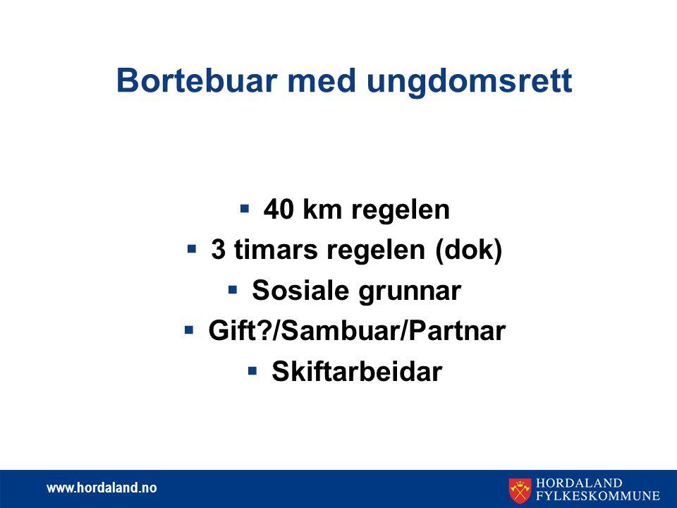 www.hordaland.no Heimebuar for lærlingar med ungdomsrett  Som heimebuar har du ikkje rett på bustipend, men du kan ha rett til kr.