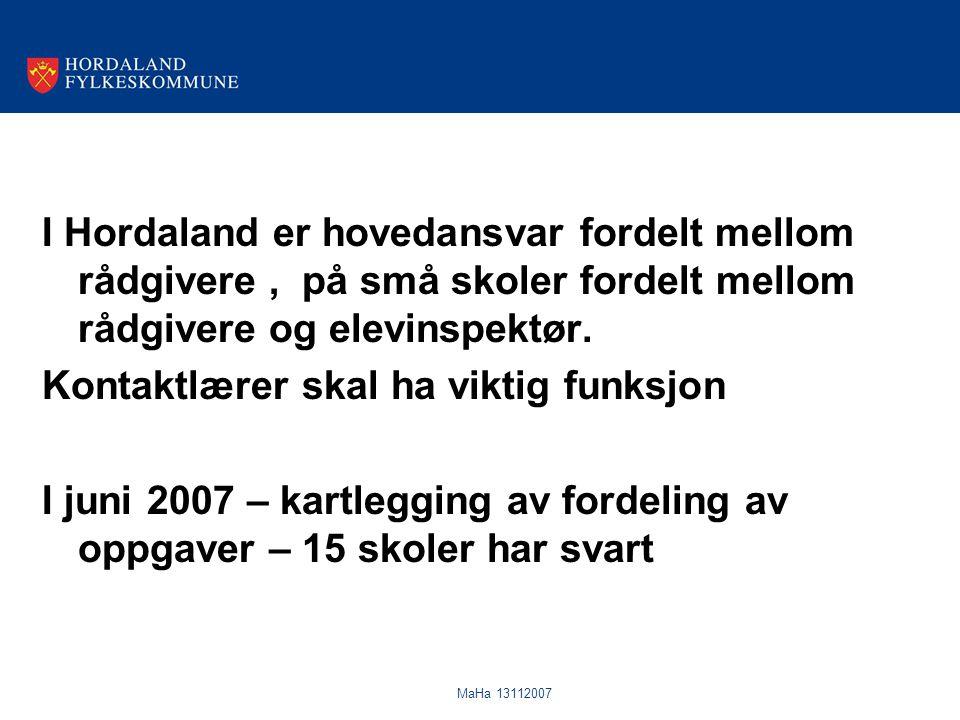 MaHa 13112007 I Hordaland er hovedansvar fordelt mellom rådgivere, på små skoler fordelt mellom rådgivere og elevinspektør. Kontaktlærer skal ha vikti