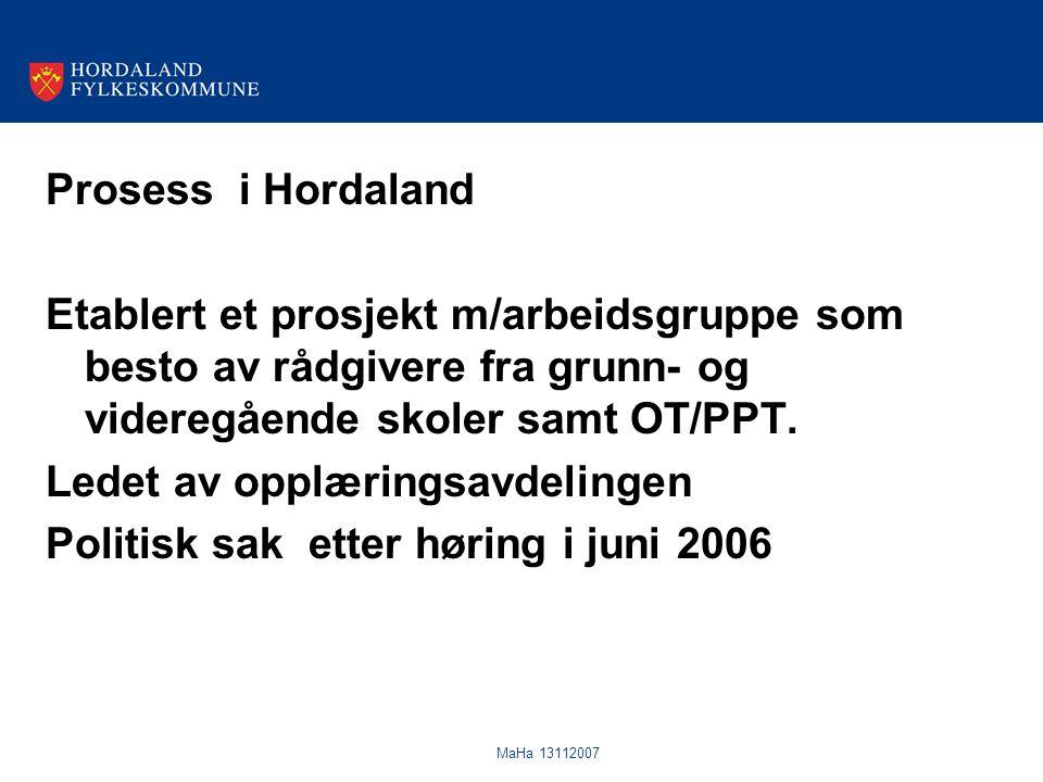 MaHa 13112007 Prosess i Hordaland Etablert et prosjekt m/arbeidsgruppe som besto av rådgivere fra grunn- og videregående skoler samt OT/PPT. Ledet av