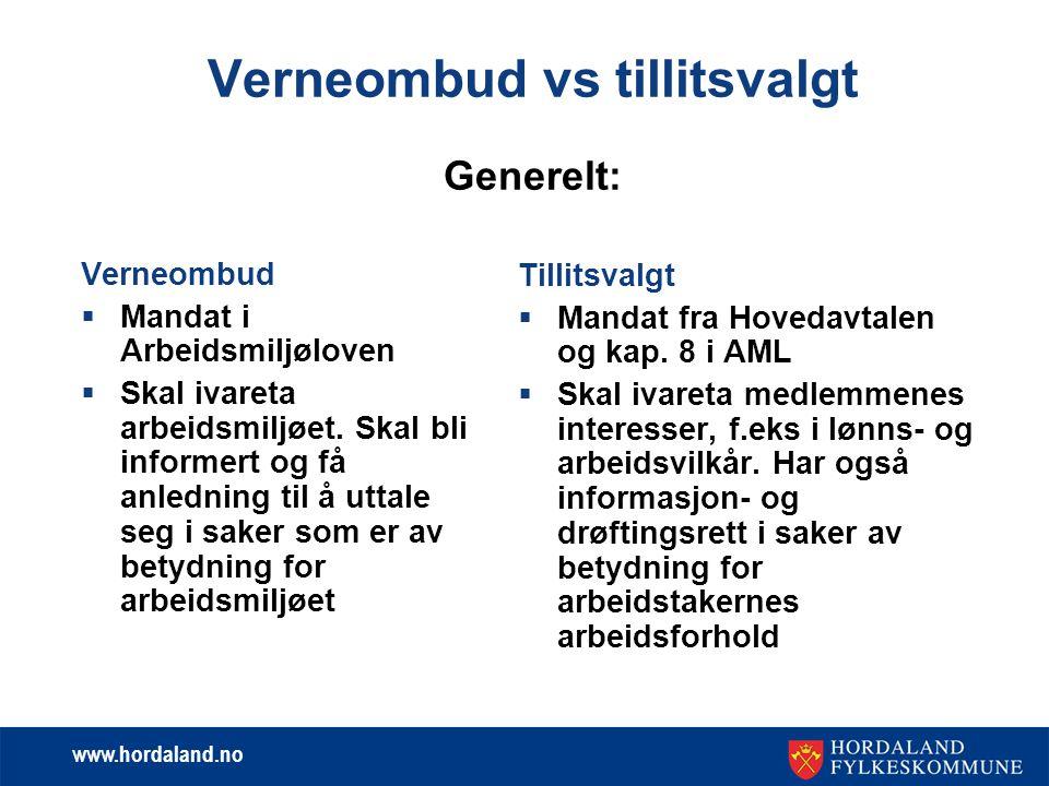 www.hordaland.no Verneombud vs tillitsvalgt Generelt: Verneombud  Mandat i Arbeidsmiljøloven  Skal ivareta arbeidsmiljøet. Skal bli informert og få