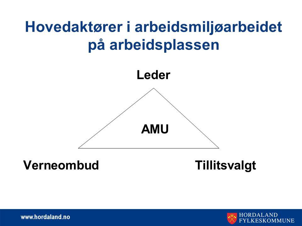 www.hordaland.no Hovedaktører i arbeidsmiljøarbeidet på arbeidsplassen Leder AMU Verneombud Tillitsvalgt