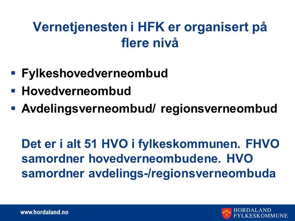www.hordaland.no Vernetjenesten i HFK er organisert på flere nivå  Fylkeshovedverneombud  Hovedverneombud  Avdelingsverneombud/ regionsverneombud D