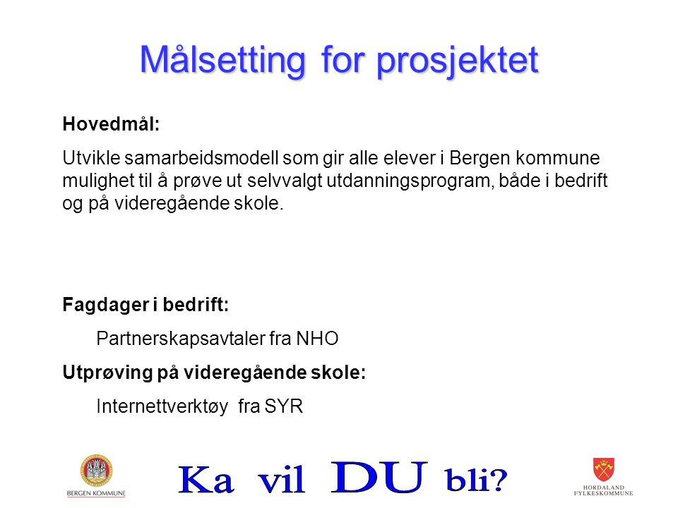 Målsetting for prosjektet Hovedmål: Utvikle samarbeidsmodell som gir alle elever i Bergen kommune mulighet til å prøve ut selvvalgt utdanningsprogram,