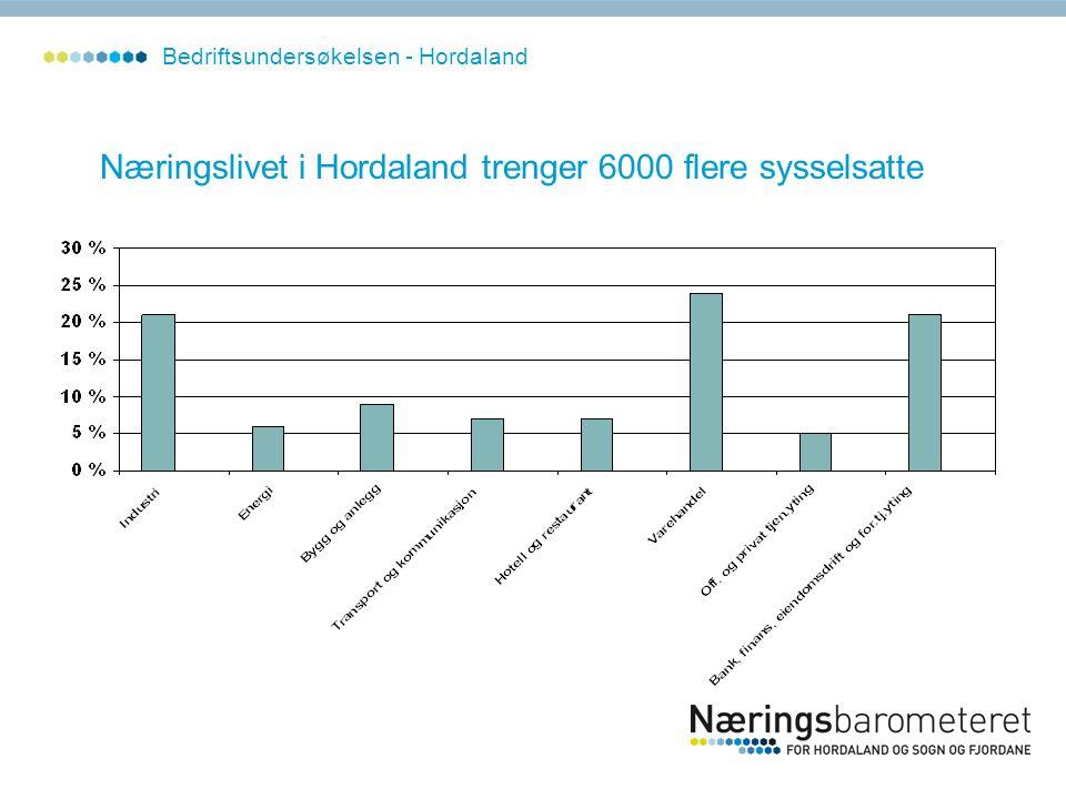 Næringslivet i Hordaland trenger 6000 flere sysselsatte Bedriftsundersøkelsen - Hordaland