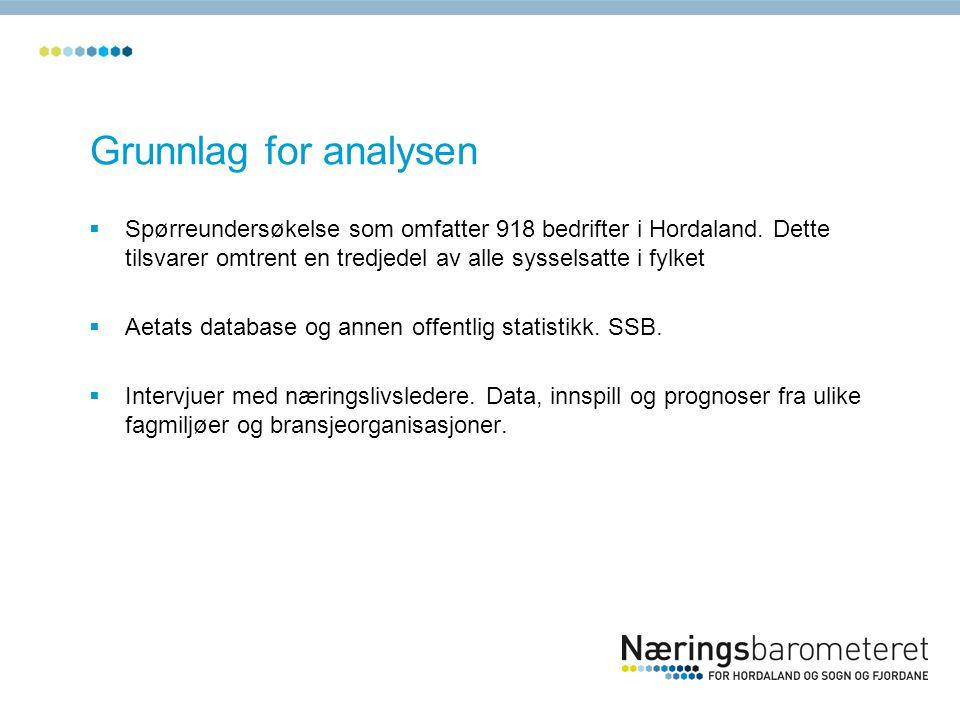 Grunnlag for analysen  Spørreundersøkelse som omfatter 918 bedrifter i Hordaland.