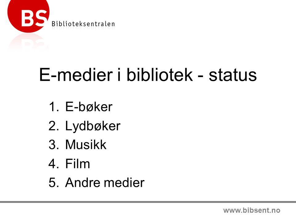 www.bibsent.no E-medier i bibliotek - status 1.E-bøker 2.Lydbøker 3.Musikk 4.Film 5.Andre medier