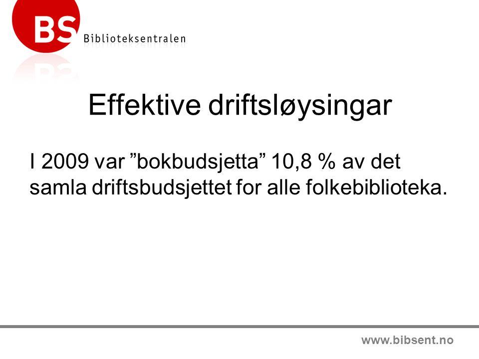 """www.bibsent.no Effektive driftsløysingar I 2009 var """"bokbudsjetta"""" 10,8 % av det samla driftsbudsjettet for alle folkebiblioteka."""