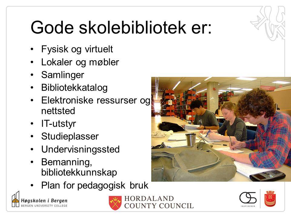 Gode skolebibliotek er: Fysisk og virtuelt Lokaler og møbler Samlinger Bibliotekkatalog Elektroniske ressurser og nettsted IT-utstyr Studieplasser Und