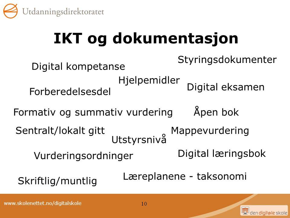 www.skolenettet.no/digitalskole 10 IKT og dokumentasjon Digital kompetanse Digital læringsbok Digital eksamen Sentralt/lokalt gittMappevurdering Lærep