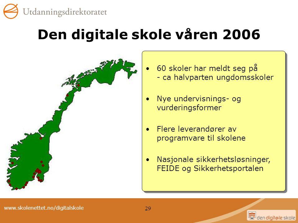 www.skolenettet.no/digitalskole 29 60 skoler har meldt seg på - ca halvparten ungdomsskoler Nye undervisnings- og vurderingsformer Flere leverandører