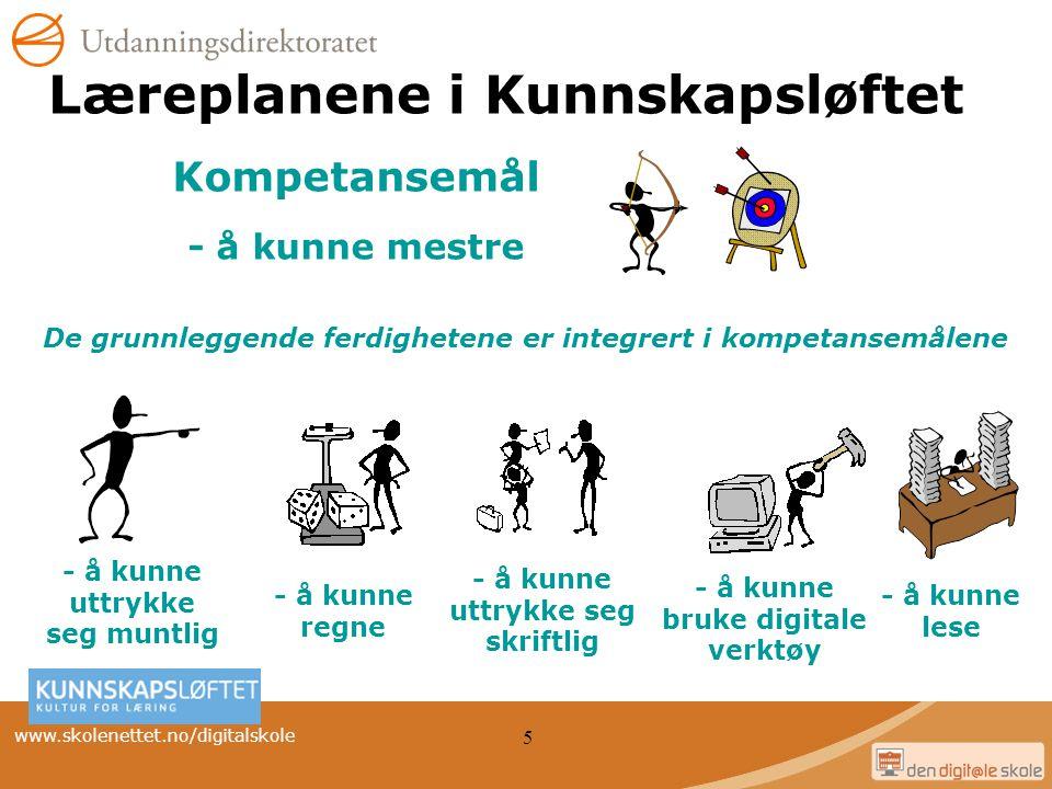 www.skolenettet.no/digitalskole 5 Læreplanene i Kunnskapsløftet - å kunne uttrykke seg muntlig - å kunne bruke digitale verktøy - å kunne lese - å kun