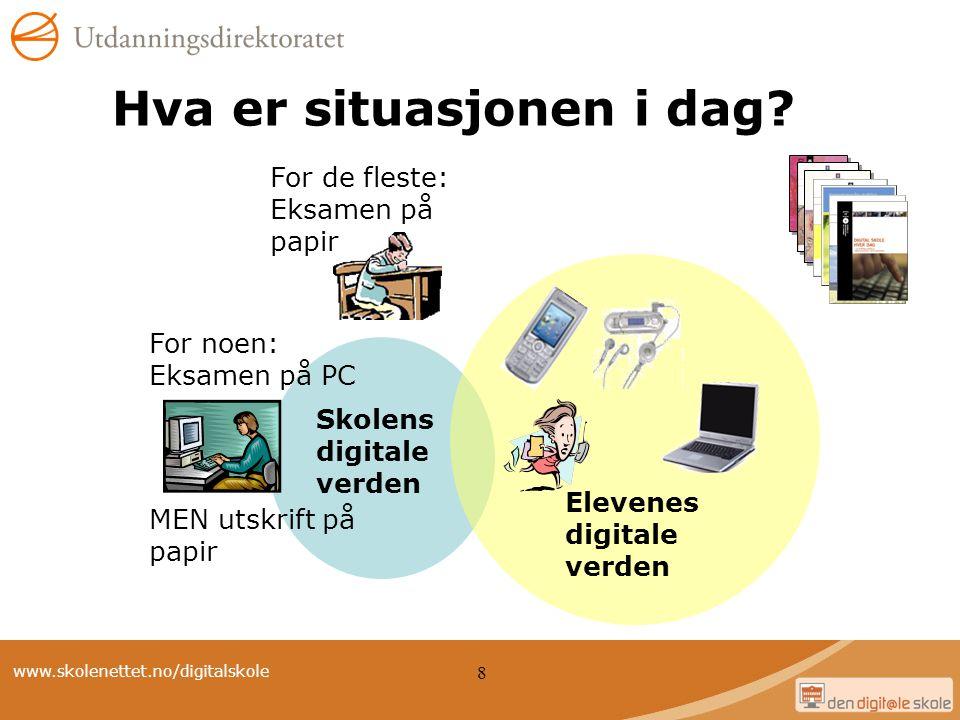 www.skolenettet.no/digitalskole 8 Hva er situasjonen i dag? Skolens digitale verden For de fleste: Eksamen på papir For noen: Eksamen på PC MEN utskri