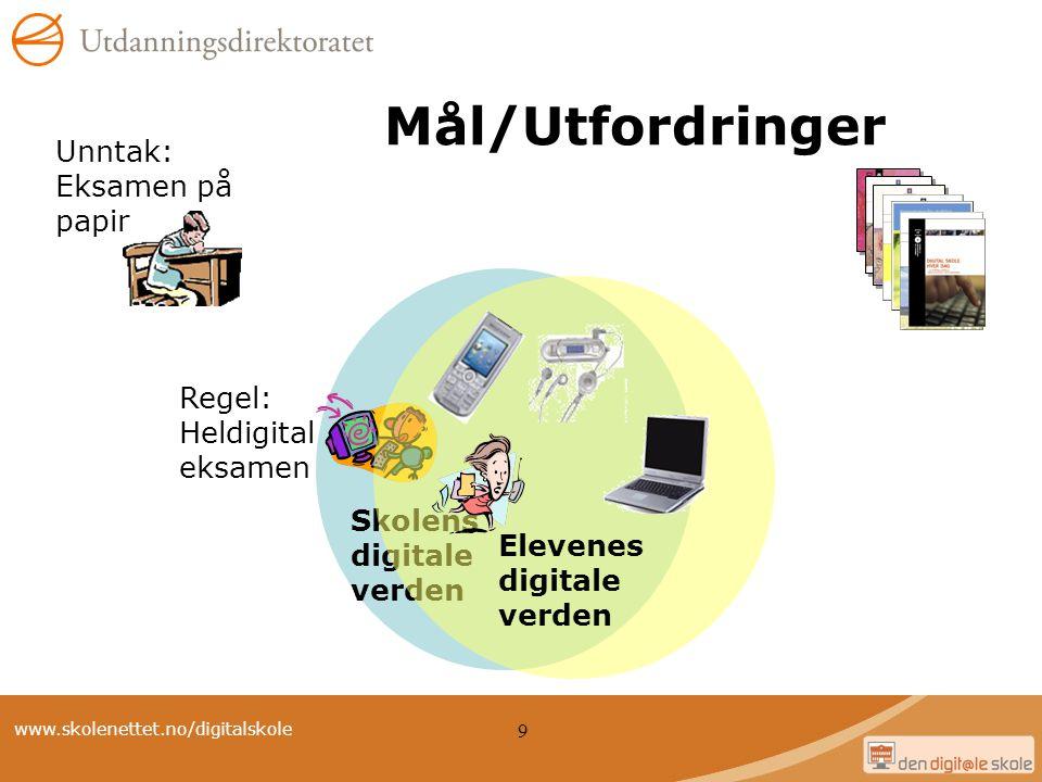 www.skolenettet.no/digitalskole 9 Skolens digitale verden Regel: Heldigital eksamen Mål/Utfordringer Unntak: Eksamen på papir Elevenes digitale verden