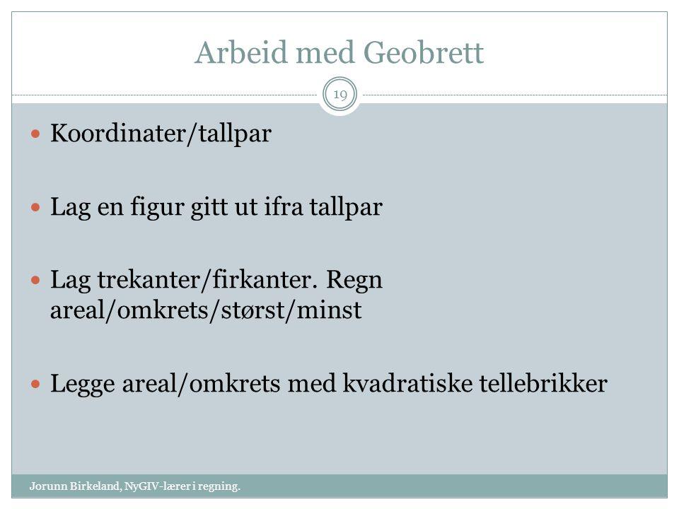 Arbeid med Geobrett Jorunn Birkeland, NyGIV-lærer i regning. 19 Koordinater/tallpar Lag en figur gitt ut ifra tallpar Lag trekanter/firkanter. Regn ar