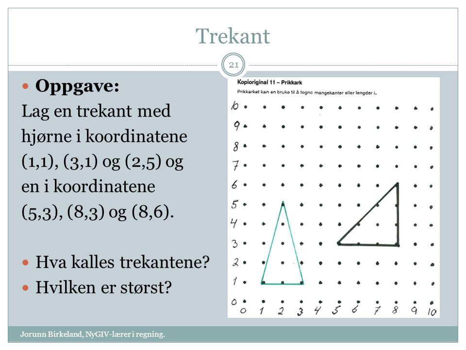 Trekant Jorunn Birkeland, NyGIV-lærer i regning. 21 Oppgave: Lag en trekant med hjørne i koordinatene (1,1), (3,1) og (2,5) og en i koordinatene (5,3)