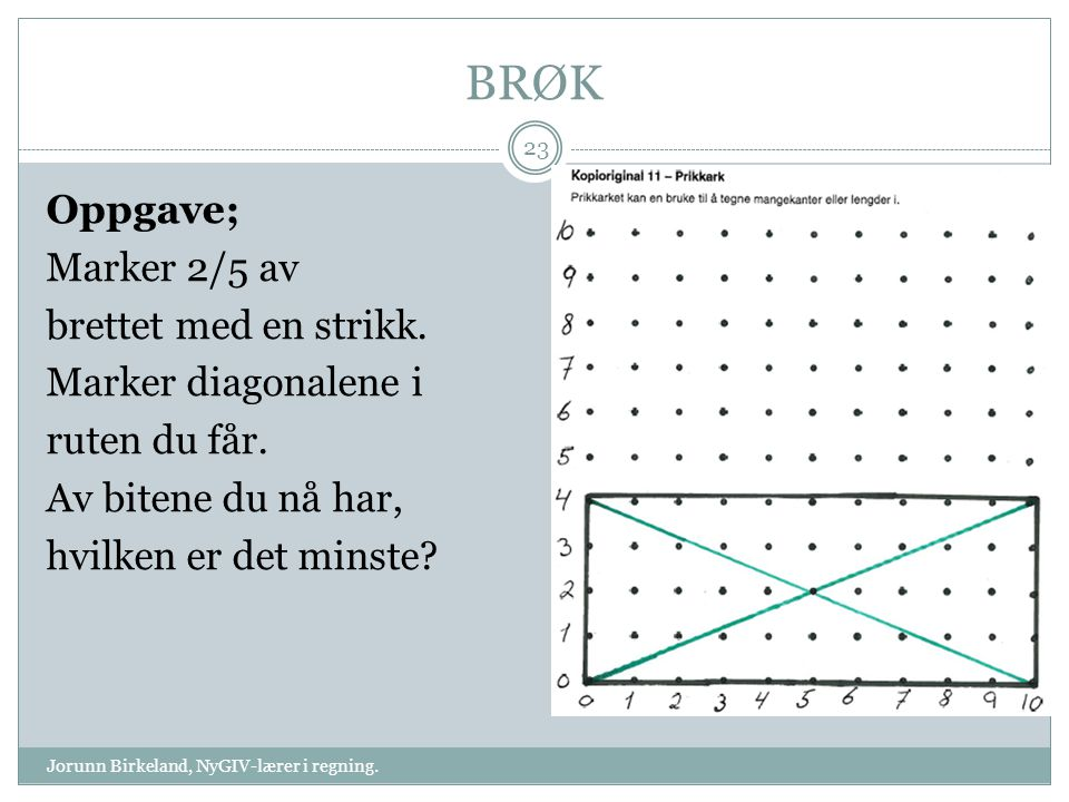 BRØK Jorunn Birkeland, NyGIV-lærer i regning. 23 Oppgave; Marker 2/5 av brettet med en strikk. Marker diagonalene i ruten du får. Av bitene du nå har,