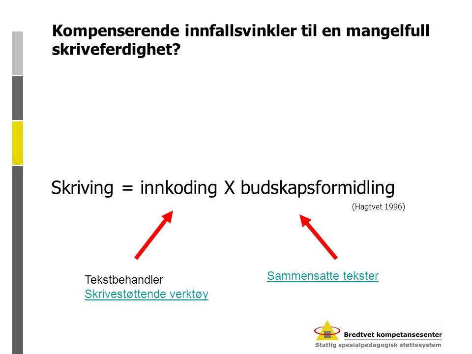 Hva er skriving? Skriving = innkoding X budskapsformidling (Hagtvet 1996)