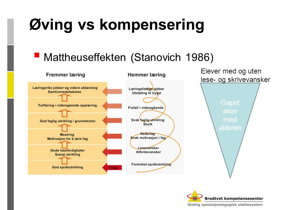 Øving vs kompensering  Mattheuseffekten (Stanovich 1986) Gapet øker med alderen Elever med og uten lese- og skrivevansker